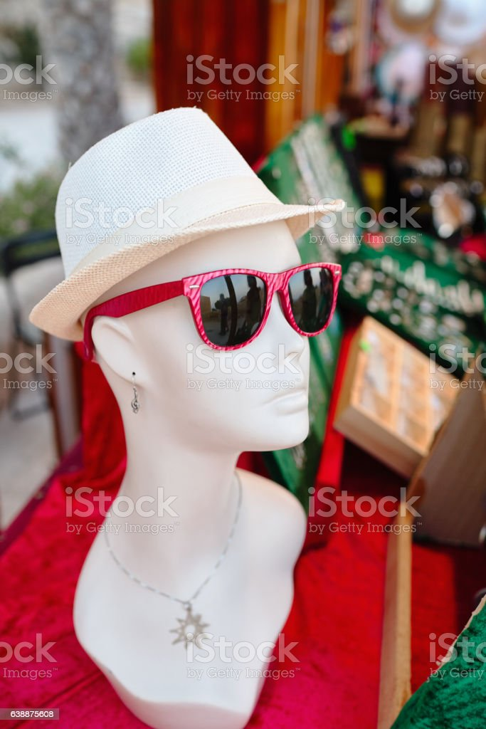 Mannequin woman with glasses and hat stock photo