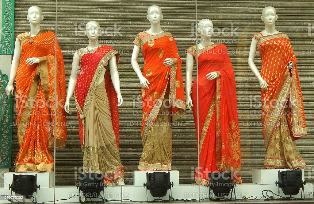Mannequins dressed in latest fashion saris stock photo
