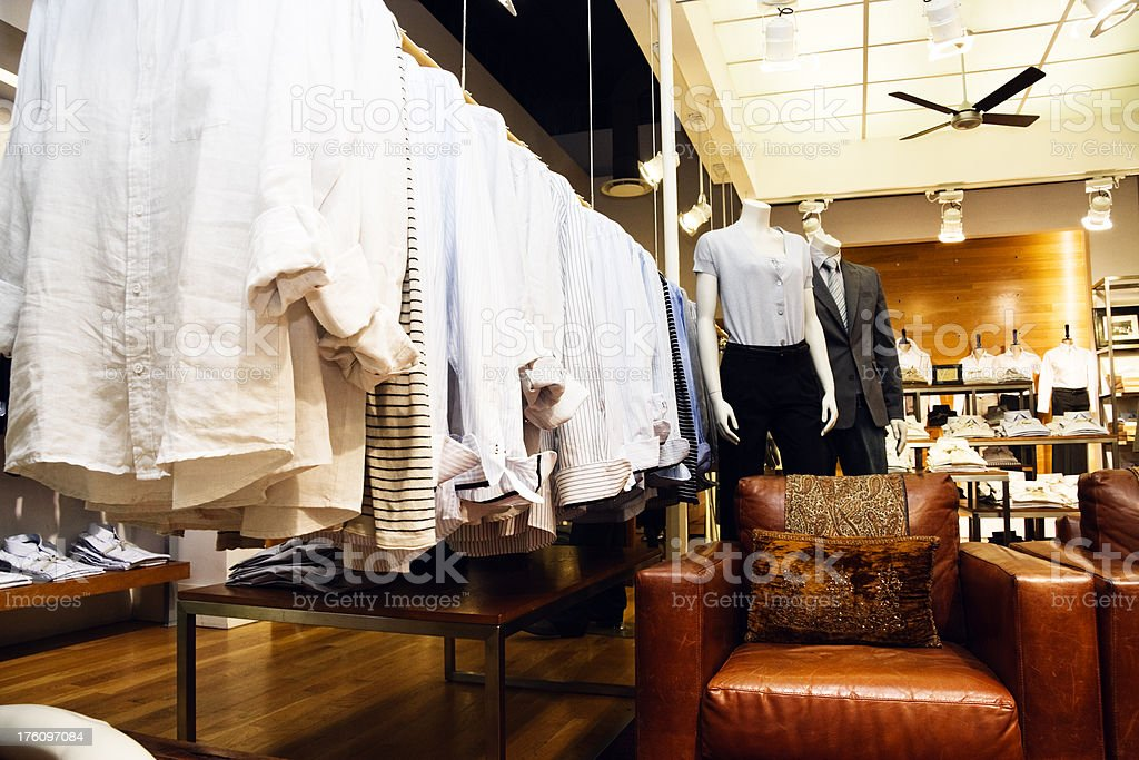 Mannequins in a men's clothing store stock photo