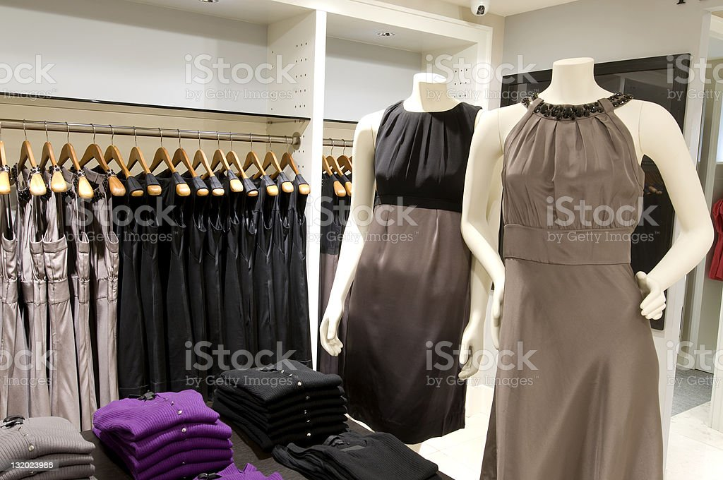 Mannequins in clothes shop stock photo