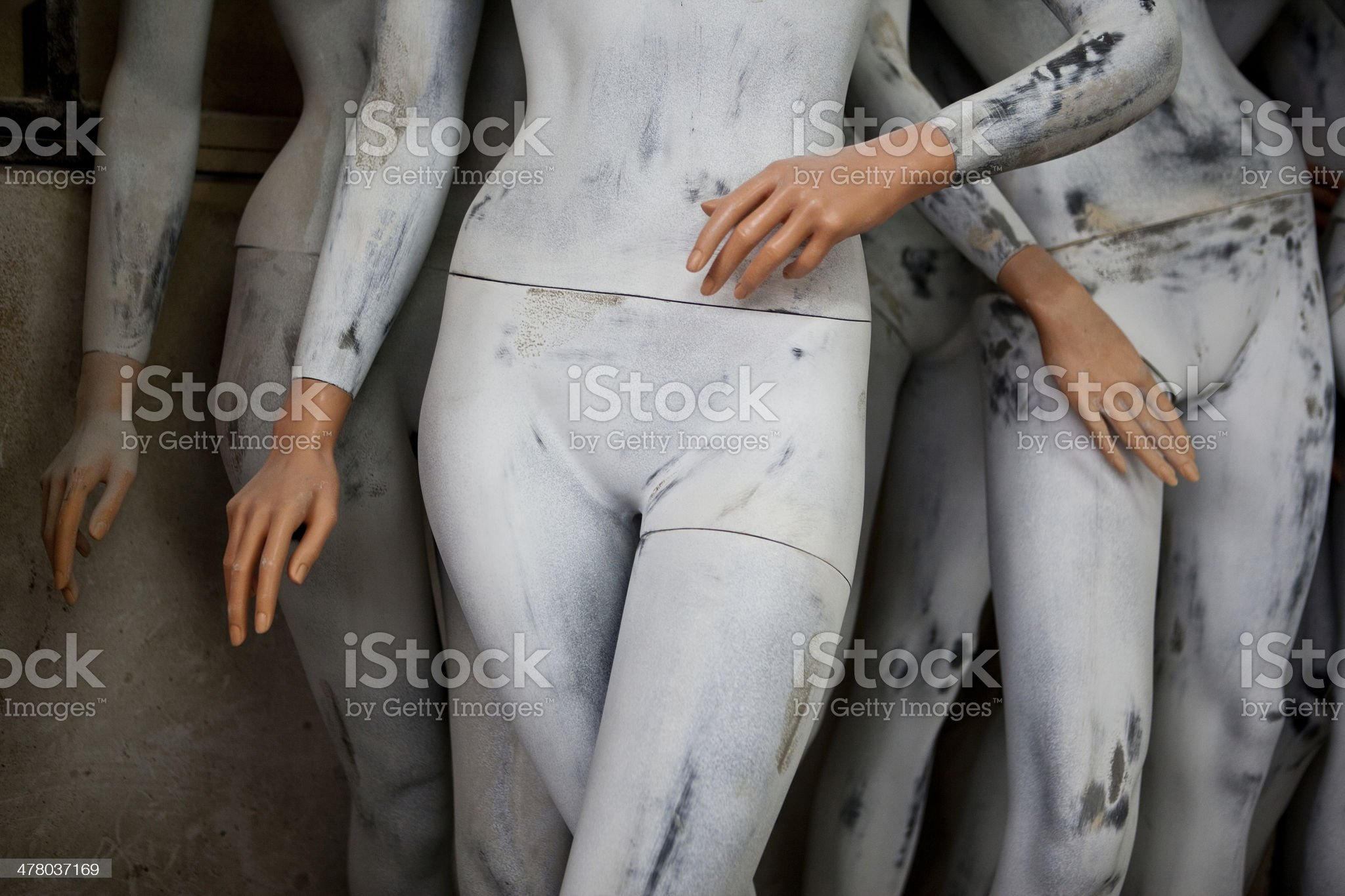Mannequins in warehouse royalty-free stock photo