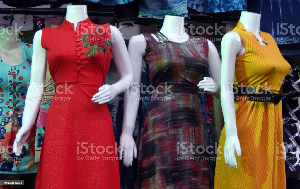 Mannequins,dressed in indian salwar kameez, women dress,in front of retail clothes shop or store,Hyderabad,India stock photo