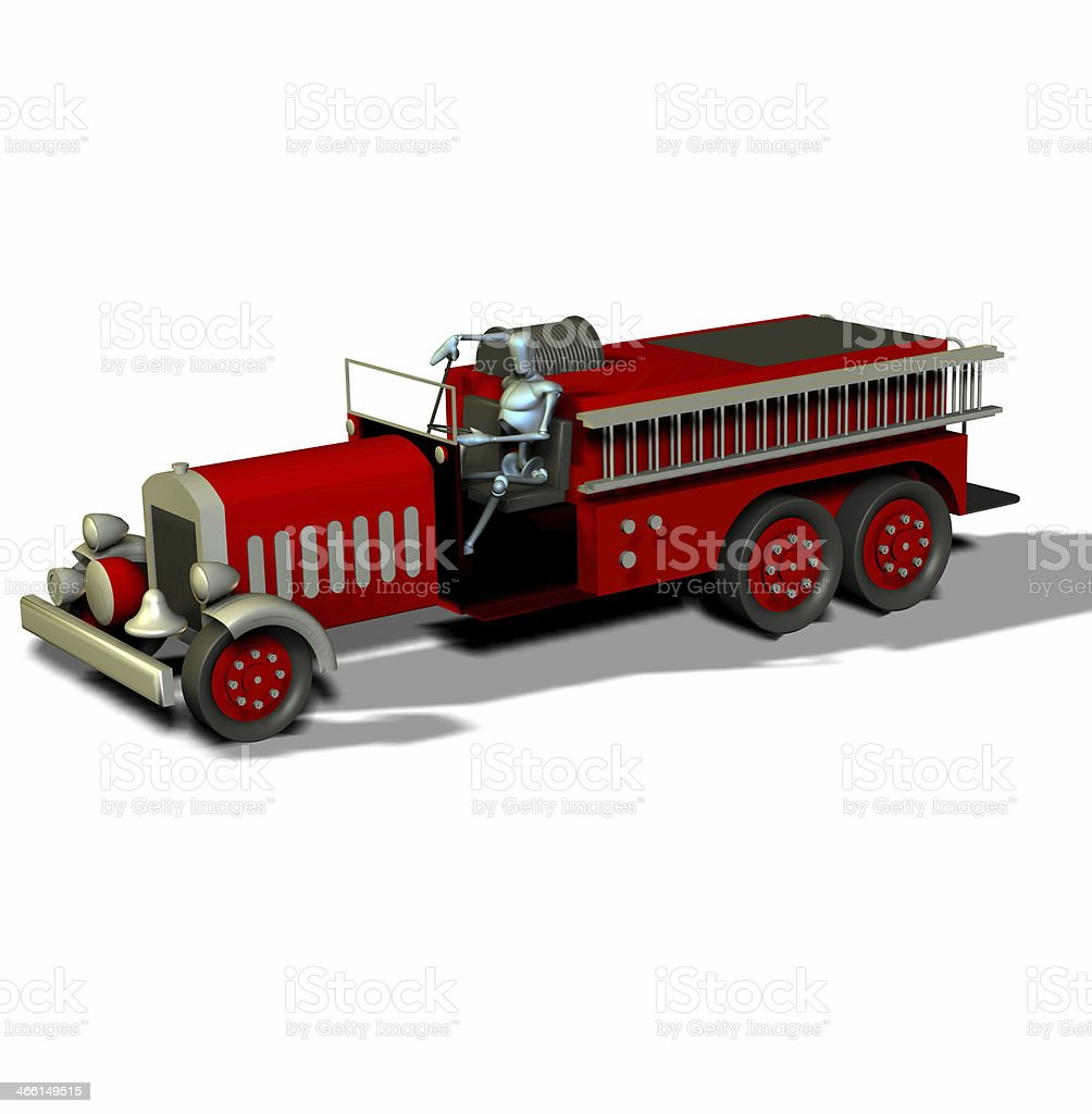 Mannikin and fire truck royalty-free stock photo