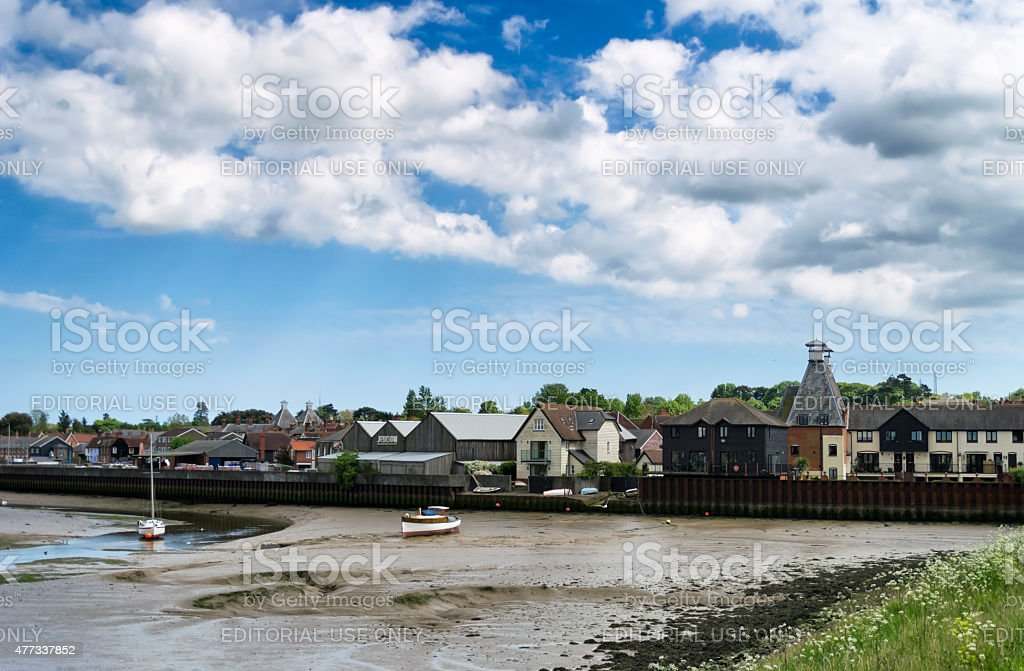 Manningtree Quay at low tide stock photo