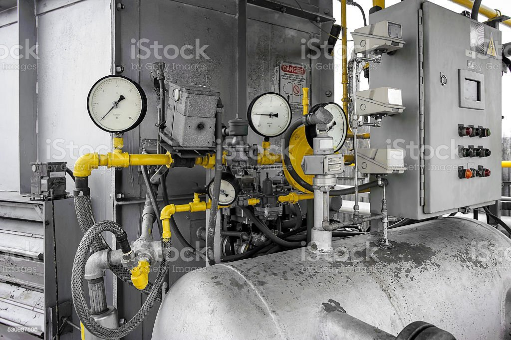 Manometer as a part of a machine stock photo