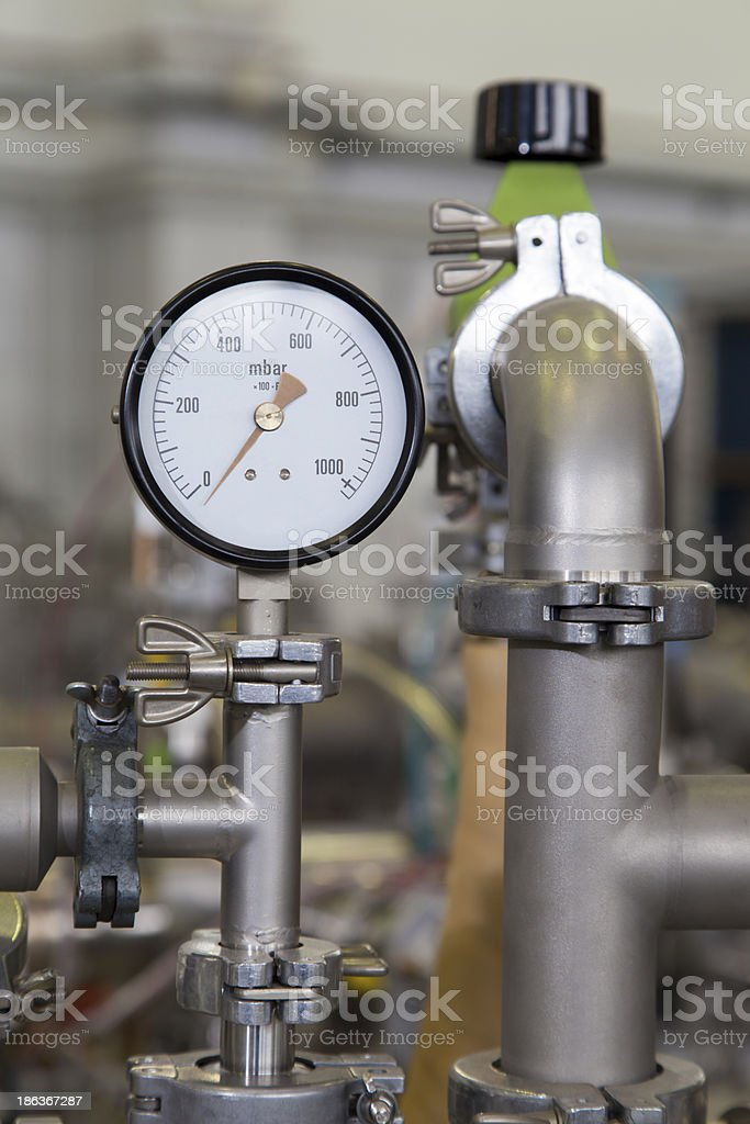 Manometer in nuclear  laboratory stock photo
