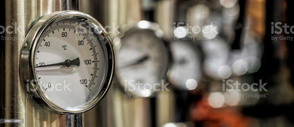 Manometer in the boiler room stock photo