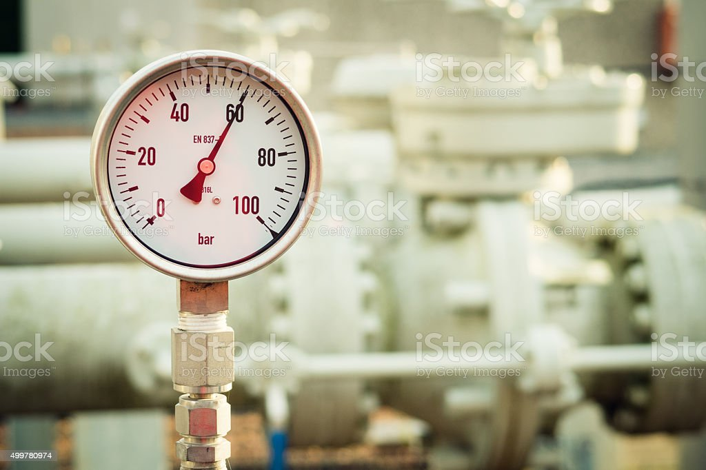 Manometer measuring high pressure natural gas stock photo