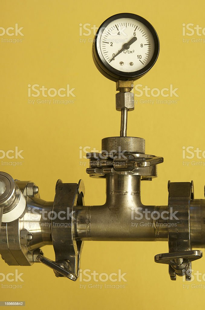 Manometer on a pipe royalty-free stock photo