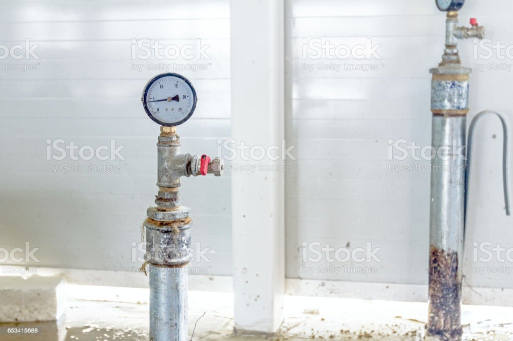 Manometer on pipe for a pressure metering stock photo