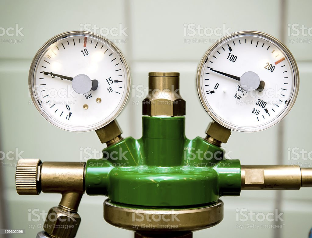 Manometer with reducer stock photo