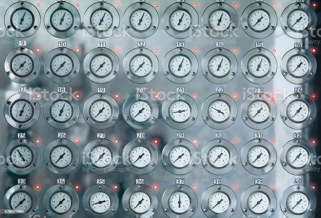 manometers for measuring the pressure inside the system stock photo