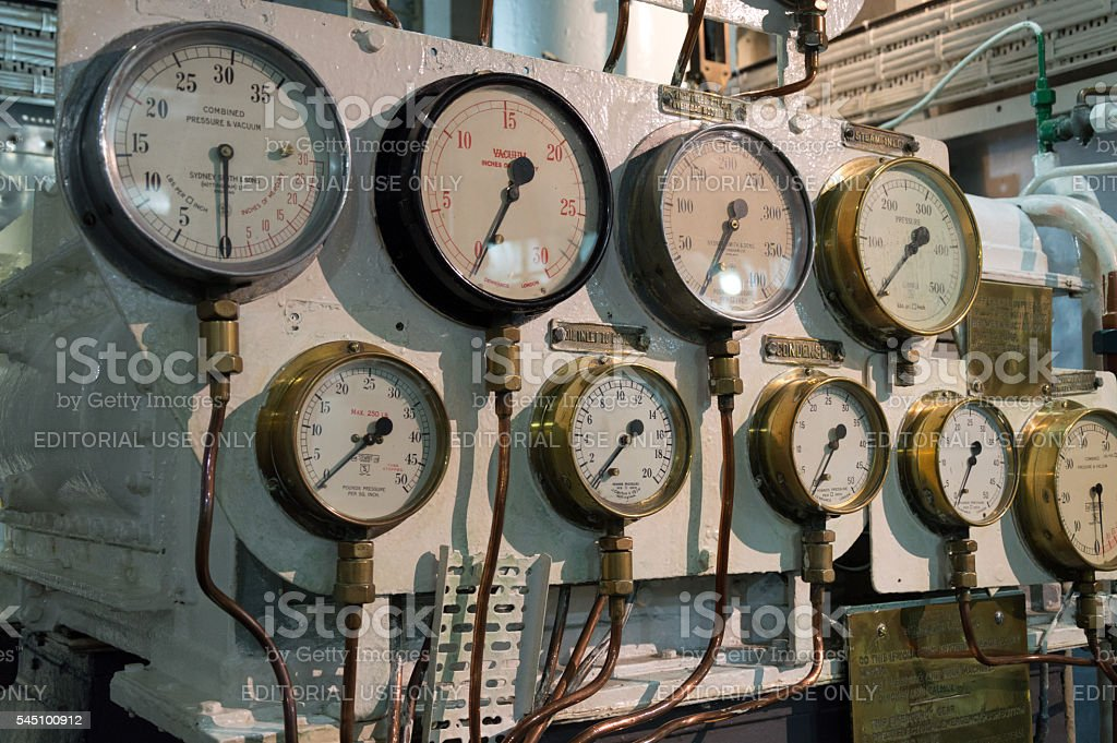 Manometers in a warship stock photo