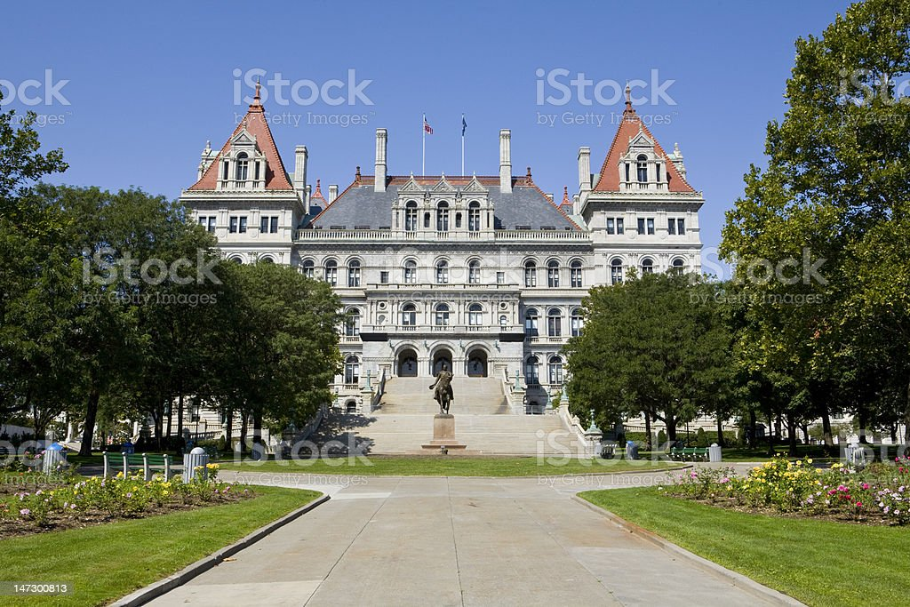 Manor house with manicured lawn in Albany New York royalty-free stock photo