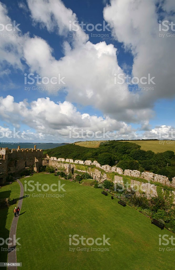Manorbier Castle Wales United Kingdom stock photo