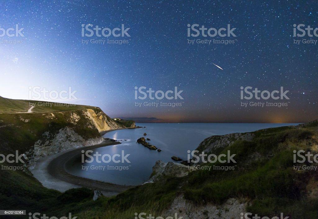 Man-O-War Bay at Night stock photo