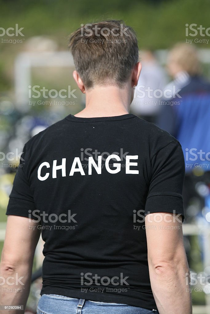 Man's back with shirt inscription: CHANGE royalty-free stock photo