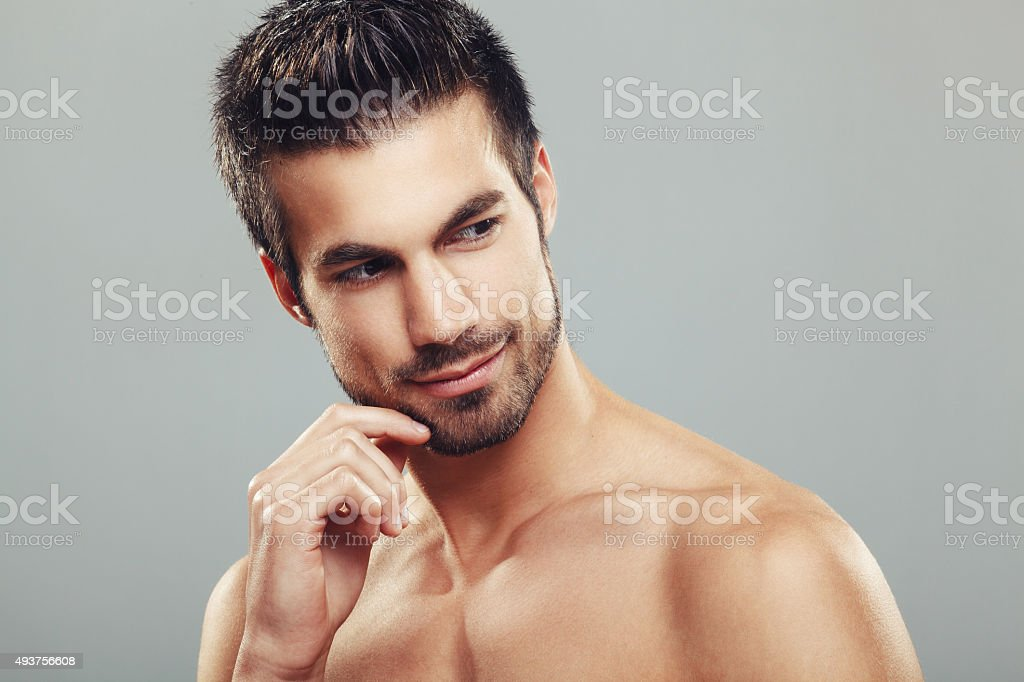 Man's beauty portrait stock photo