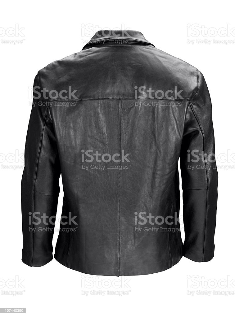 Man's blank black leather jacket back-isolated on white w/clipping path stock photo