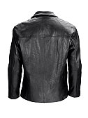 Man's blank black leather jacket back-isolated on white w/clipping path