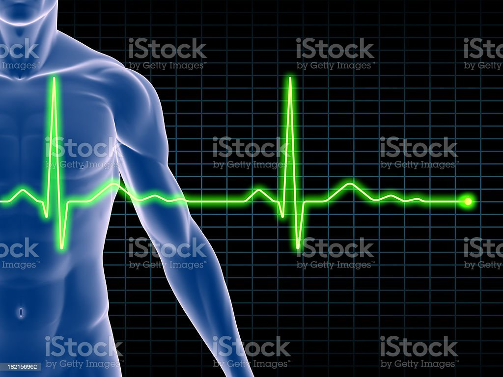 Man's body with an electrocardiogram superimposed royalty-free stock photo