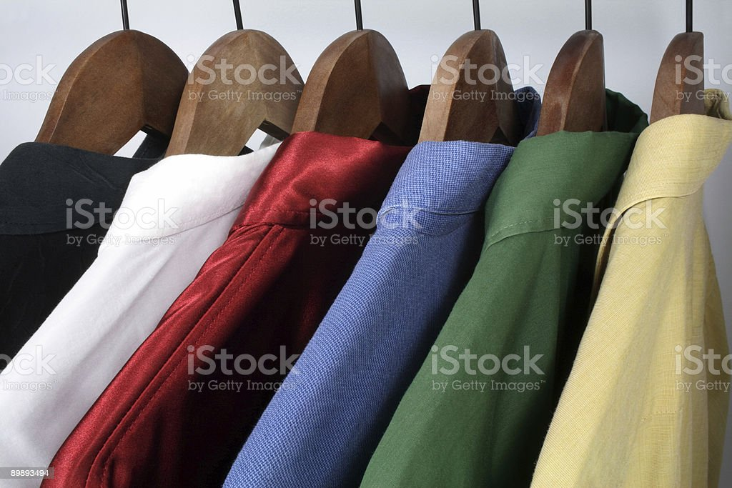 Man's clothing, choice of colorful shirts stock photo