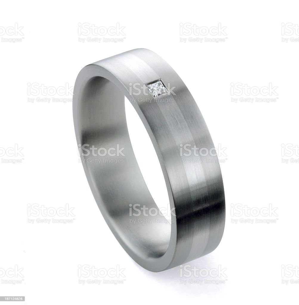 Man's Diamond and Platinum Wedding Ring royalty-free stock photo