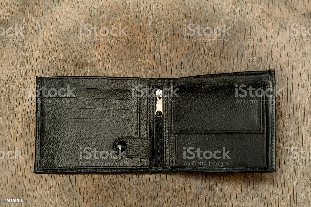Isolated wallet on wooden background