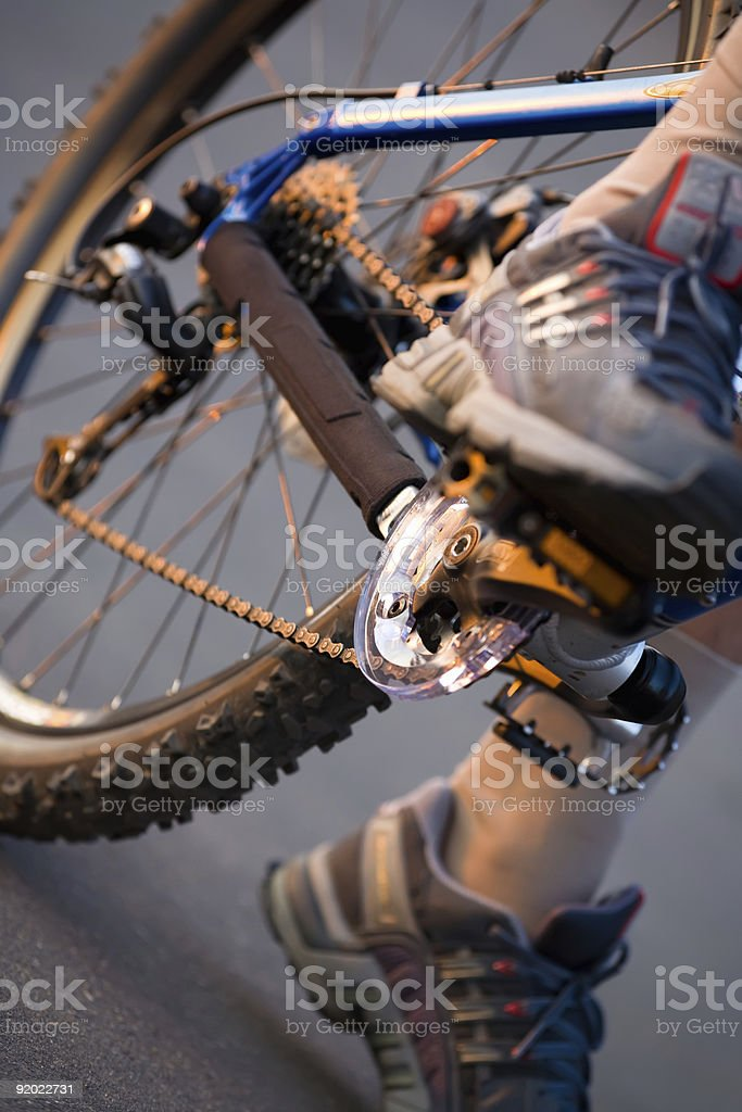 man's feet and bicycle royalty-free stock photo