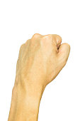 Man's fist isolated on white background including clipping path