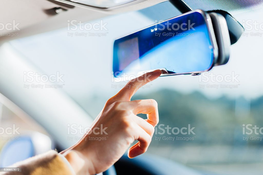 man's hand and panel of car stock photo
