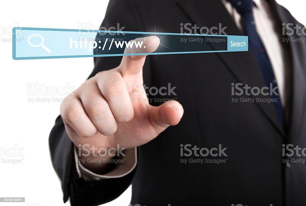 man's hand clicks on the address bar stock photo