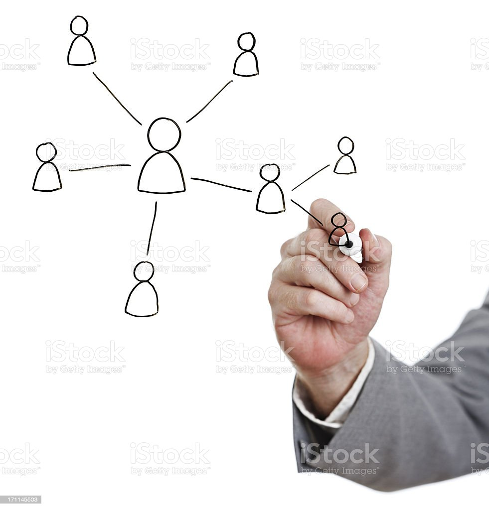 Man's hand draws diagrammatic people chart on whiteboard royalty-free stock photo