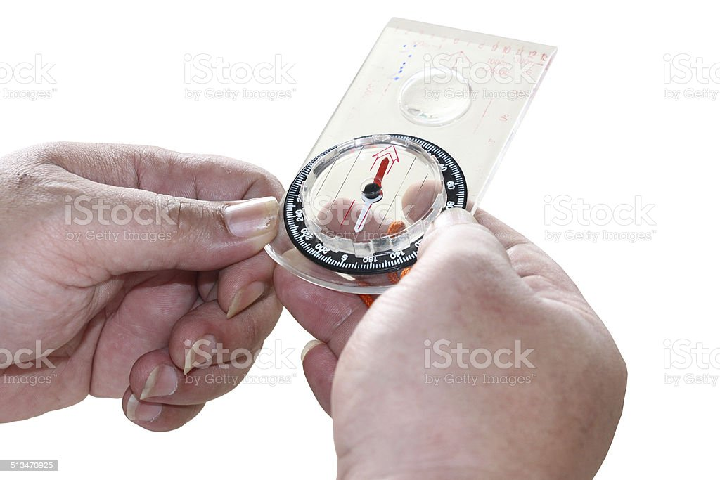 Man's hand holding a compass. Isolated on white stock photo
