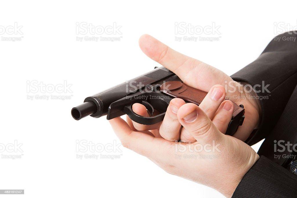 man's hand holding a pistol Makarov royalty-free stock photo