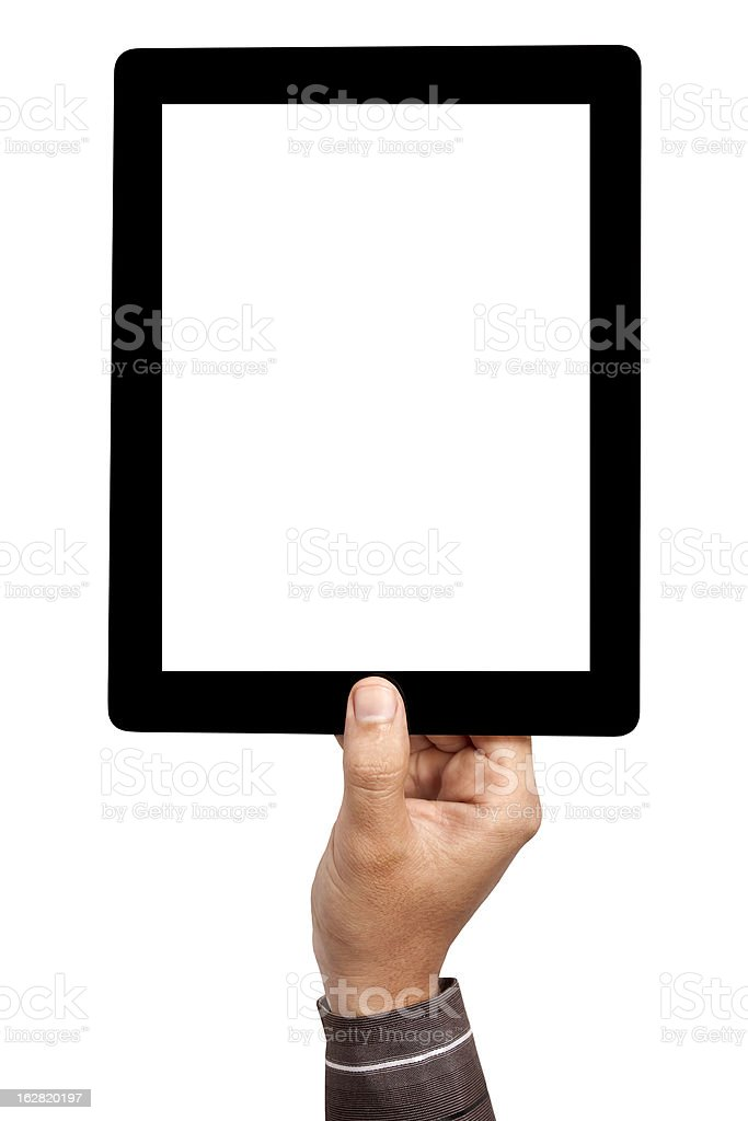 Mans hand holding blank tablet on the air stock photo