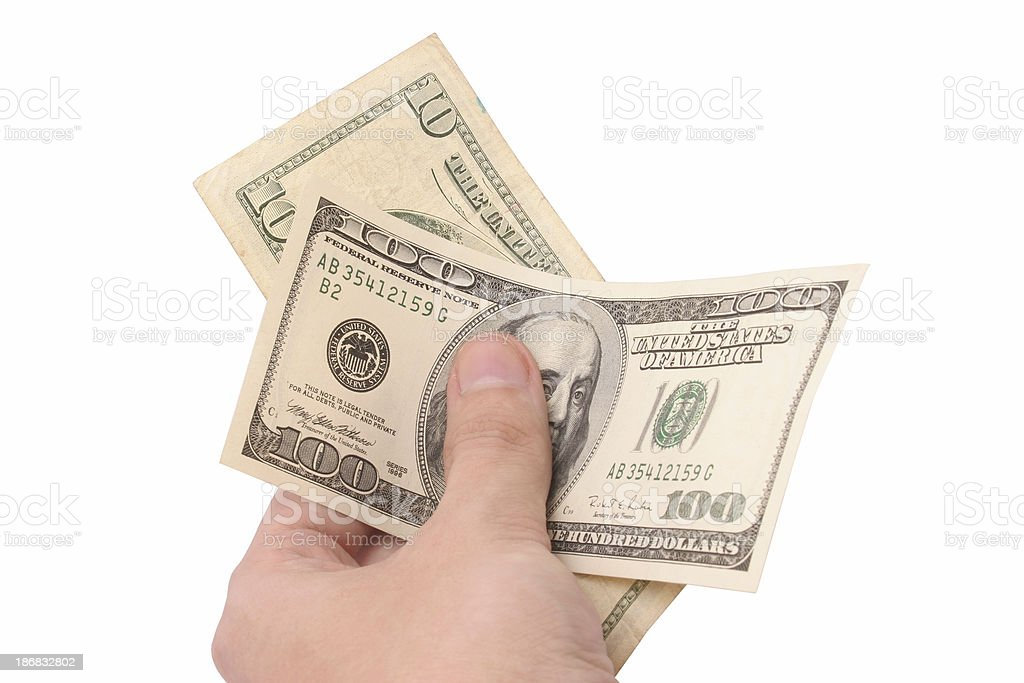 Man's hand holding money royalty-free stock photo
