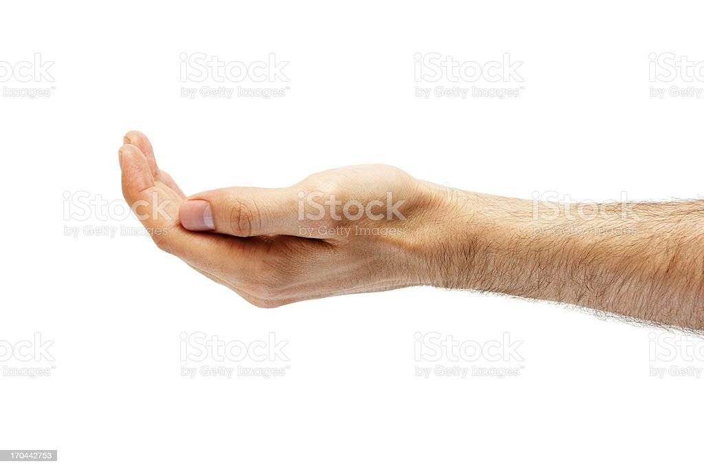 Man's hand hollow.isolated on white background stock photo