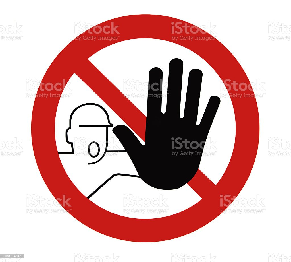 Man's hand outstretched to show that entering is not allowed stock photo