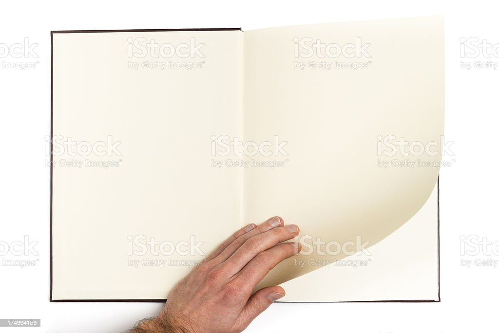 Man's hand scrolling notepad pages isolated on white royalty-free stock photo