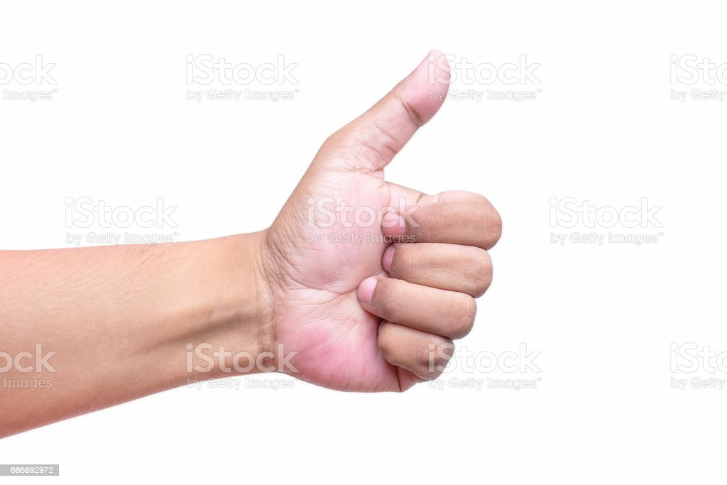 Man's hand showing thumb up, like, isolated on a white background stock photo