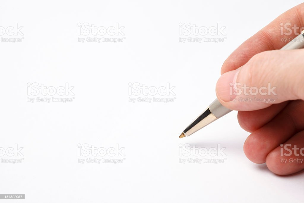 Man's hand signing the document copy space stock photo