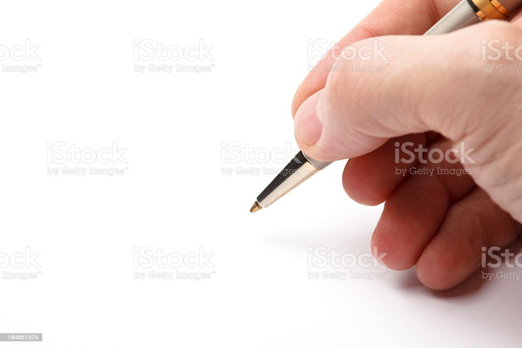 Man's hand signing the document copy space royalty-free stock photo