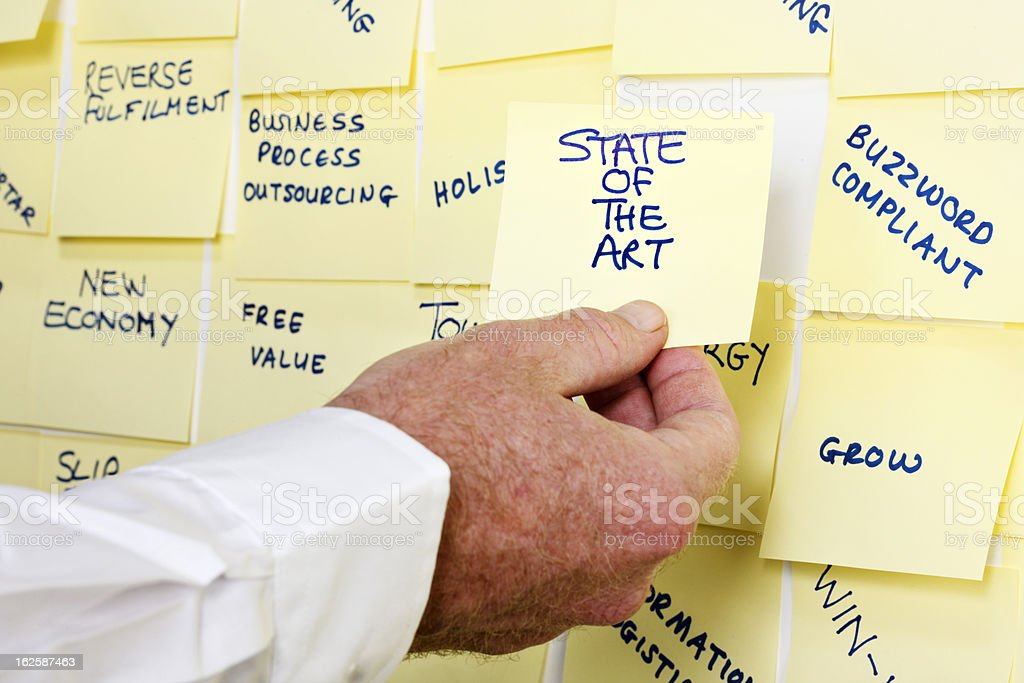 Man's hand takes 'State of the Art' note from noticeboard royalty-free stock photo