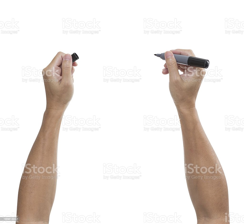 man's hand with black pen isolated on white background stock photo