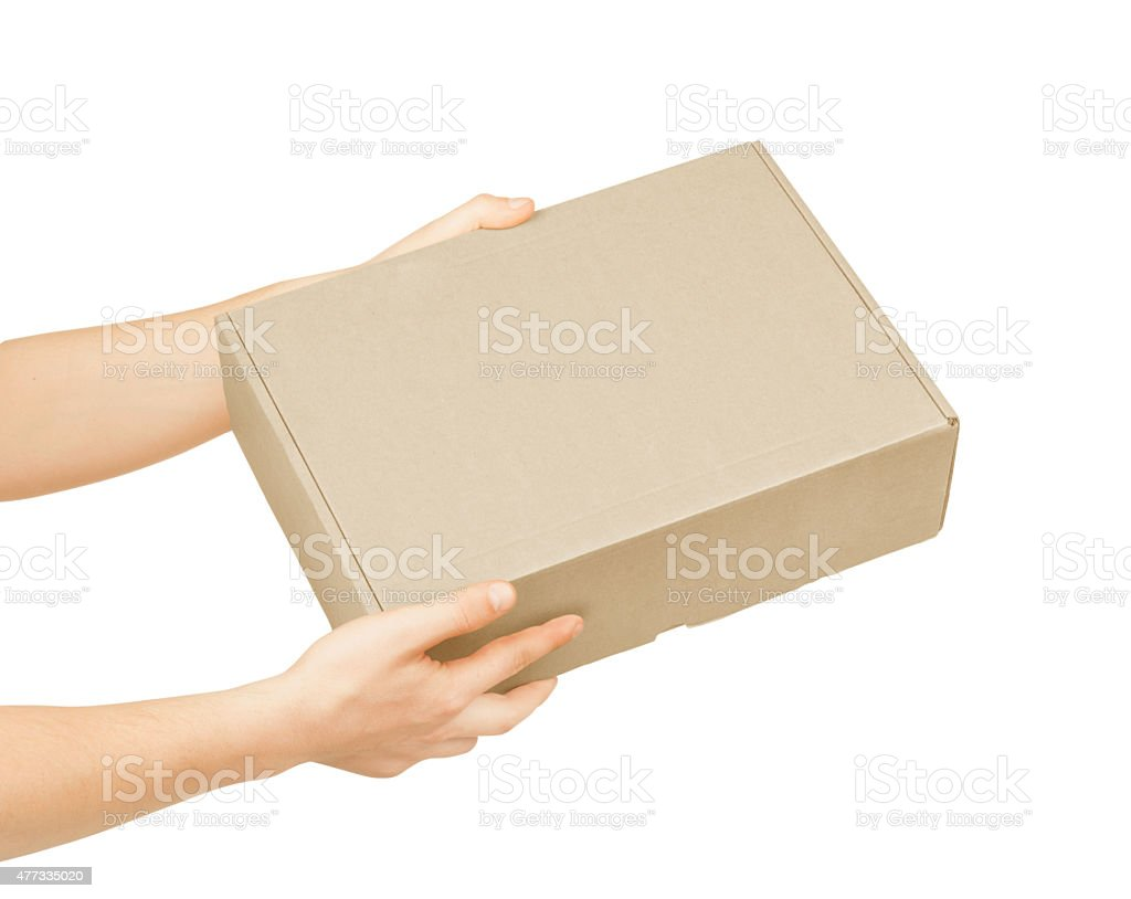 man's hand with cardboard box on white background stock photo