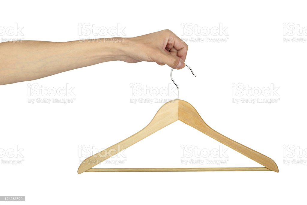man's hand with hanger stock photo