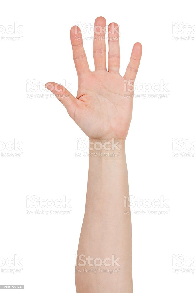 Man's hand with spread fingers stock photo