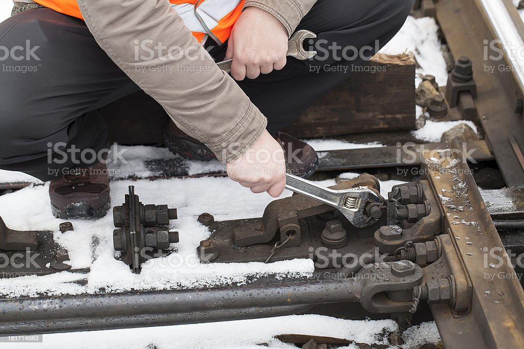 Man's hand with wrench royalty-free stock photo