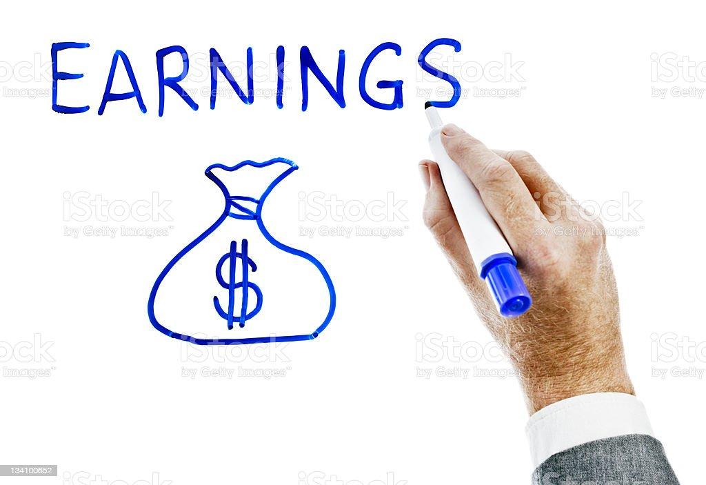 "Man's hand writes ""earnings"" next to symbolic money bag. royalty-free stock photo"